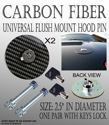 ICBEAMER Round 100 Real Carbon Fiber Mount Bonnet Hood Lock Pins Kit w Key W32