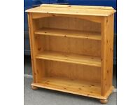 Solid Pine Open Bookcase Display Shelf Unit On Bun Feet With Adjustable Shelves