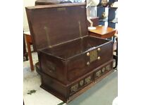 **REDUCED** Huge Antique Colonial C1860 Mule Chest Or Trunk Storage Blanket Box Coffee Table