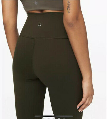 "Lululemon Wunder Under HR Crops, 21"" *Full-on Lux Size 8 Olive Hugged Sensation"