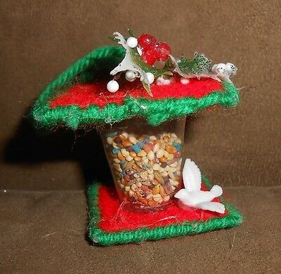 Handmade Bird Feeder w/Bird Christmas Holiday Ornament  - Very Good