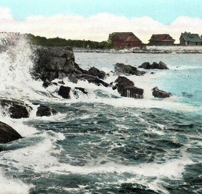 Blowing Cave Kennebunkport Maine signed Byron James Whitcomb Vintage Postcard
