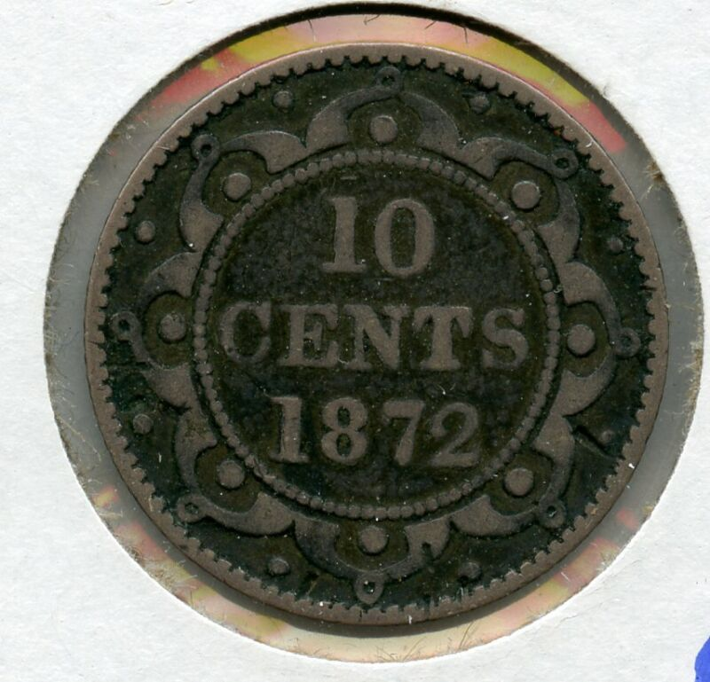 1872-H Newfoundland 10 Cents Silver Coin JD030