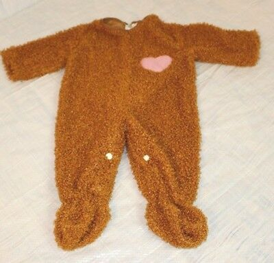 Infant Toddler Size 6-12 Month Halloween Costume Bear w Heart One Piece Zip-Up