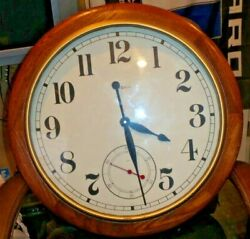 Vintage Howard Miller 25.5 Oak Wood Wall Clock Model 622-757