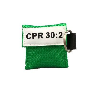 1 Green Cpr Pocket Keychain Face Shield Mask With Gloves