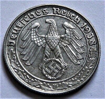 1938 WW2 NAZI ERA ORIGINAL GERMAN COIN 50 REICHSPFENNIG ( F )  GOOD GRADE