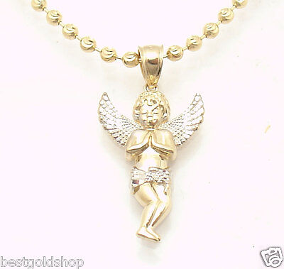 Cute Mens Two Tone Baby Angel Charm Pendant Real Solid 14K Yellow White Gold