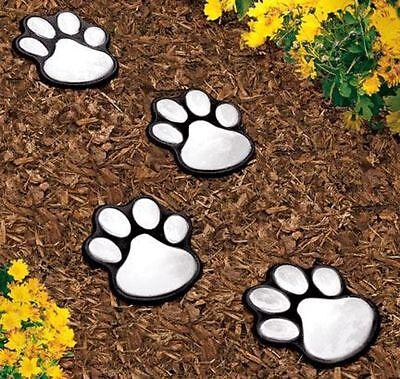 4 solar dog animal paw print Lights garden statue lantern LED path 3