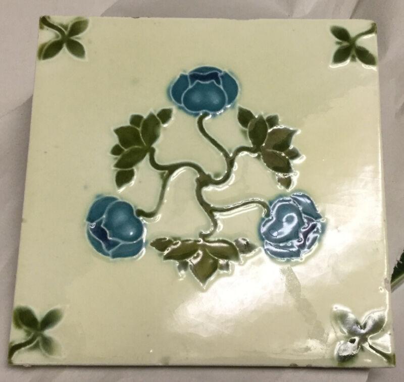 Antique Art Nouveau Majolica Tile England