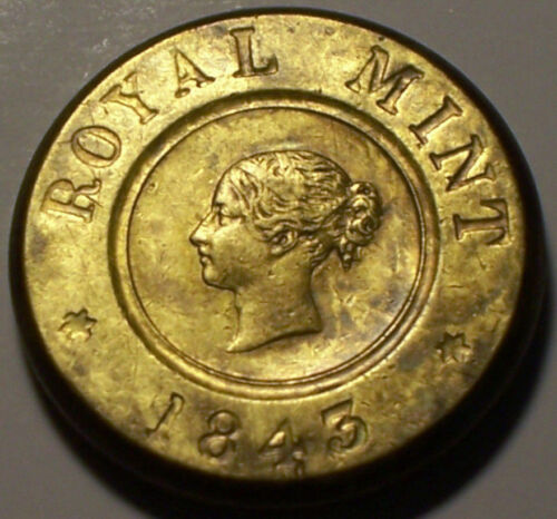 Great Britain, 1843 Victoria Brass Sovereign Coin Weight.
