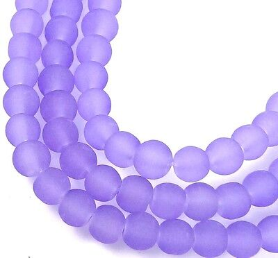100 Czech Frosted Sea Glass Round Beads - Matte - Lavender 4mm