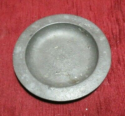 ANTIQUE ENGLISH PEWTER PIN DISH SAUCER  CROWNED X COCKEREL MARKS 1800'S