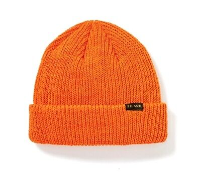 Red Watch Knit Beanie (FILSON 11030235 Virgin Wool Knit Flame Red Orange Cuff Watch Cap)