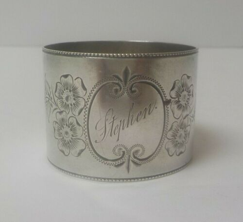 Victorian Period Sterling Silver Engraved Napkin Ring, Stephen, 25 grams