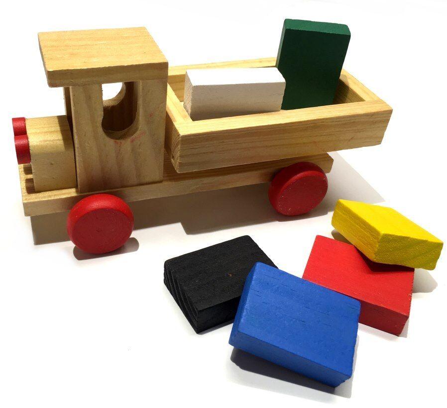 Holz-Spielzeug Auto LKW Laster Lastwagen mit Holzbausteinen/Bausteinen (OVP,  CE)