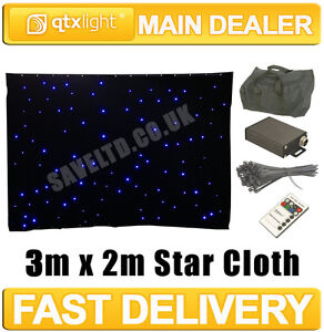 QTX 3m x 2m Black Star Cloth with 96 Blue LEDs + Controller, Remote and Bag