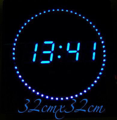 LED digitale Wanduhr mit Datum-&Temperaturanzeige geräuschlos in Blau 32x32x3cm