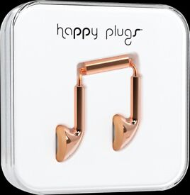 NEW HAPPY PLUGS EARBUD EARPHONES HEADPHONES WITH MIC & REMOTE ROSE GOLD 7737