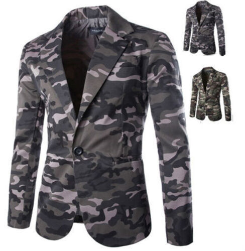 Men/'s Slim Camouflage Suit Single Button Casual Blazer Military Wind Coat Jacket