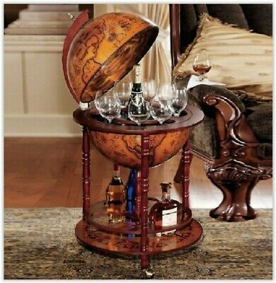 Vintage Wine Bar Antique Globe Drinks Minibar Trolley Cabinet Birthday Gift