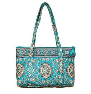 New VERA BRADLEY TOTALLY TURQUOISE ZIPPER TOP TOTE SHOULDER BAG HANDBAG NEW