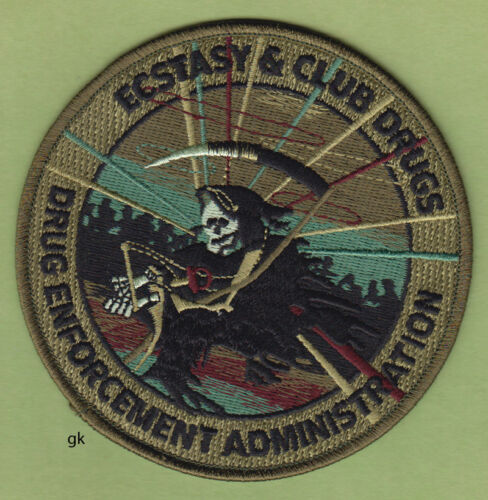 ECSTASY ECSTACY CLUB DRUGS DEA  DRUG ENFORCEMENT SUBDUED Green  POLICE PATCH