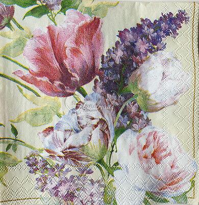 4 Small 25cm Napkin Papers Decoupage Servietten Tovaglioli Tissue Craft Flowers