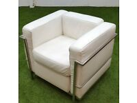 White Le Corbusier style sofa cheap furniture leather chrome cage