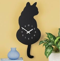Collections Black Cat Pendulum Wall Clock Cat Silhouette Wagging Tail Cat Lover