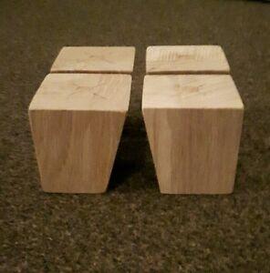 A Set 4 Wooden Sofa Feet Furniture Oak Square Legs