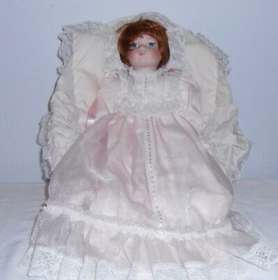 "Brittany 15"" Porcelain Doll W/ Cardle, Pillow, a beautiful Pink Dress & Bonnet"