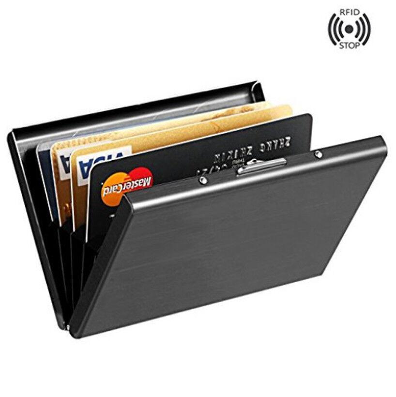 Men Slim Front Pocket Wallet Black Thin Rfid Block Credit