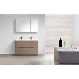 Cube 1200mm Grey Elm Floor Mounted Vanity Unit With White Resin Basin Ex Display