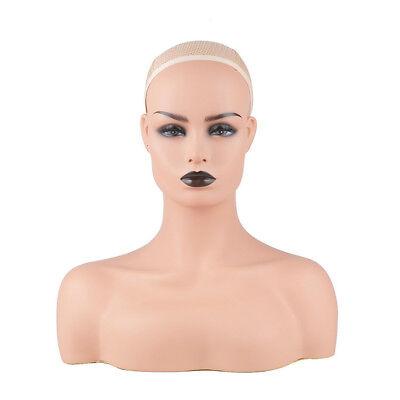 New Realistic Mannequin Head Fiberglass Hat Glasses Mold Stand Torson Wig Dc487b