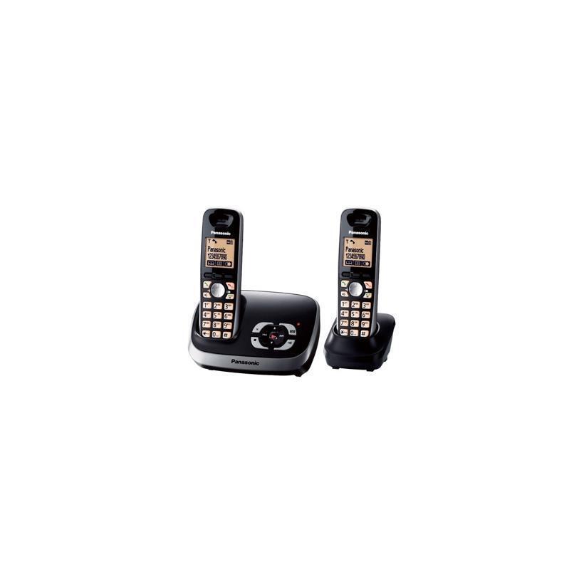 PANASONIC Telefono Cordless KX-TG 6522 GB DUO CON AB Nero