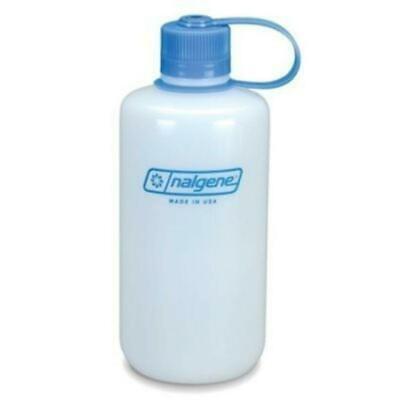 Nalgene Narrow Mouth 32oz BPA Free HDPE Loop Top Water Bottle Natural w/Blue covid 19 (Nalgene Narrow Mouth Loop Top coronavirus)