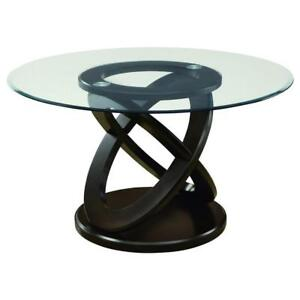 """NEW MONARCH ROUND DINING TABLE I 1749 224921524 TEMPERED GLASS DARK ESPRESSO 48""""D"""