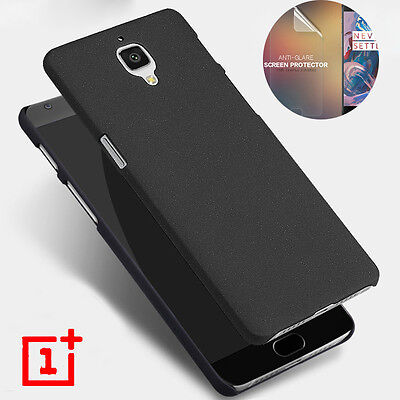 Sandstone Screen (Sandstone Matte Hard Slim Back Case Cover For OnePlus 3 3T + Screen Protector )