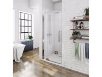 Luxury 8mm right handed frameless hinged shower door 760mm (NEW)
