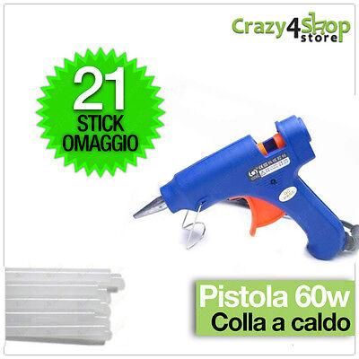 MINI PISTOLA PER COLLA A CALDO CON 21 STICK in SILICONE fai da te bricolage 60W