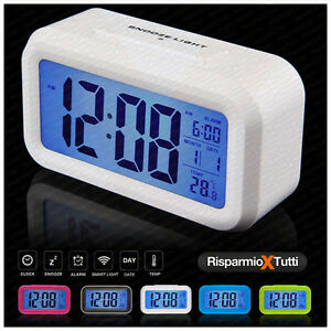 Orologio da tavolo lcd con sensore luce sveglia e datario - Orologio digitale da tavolo ...