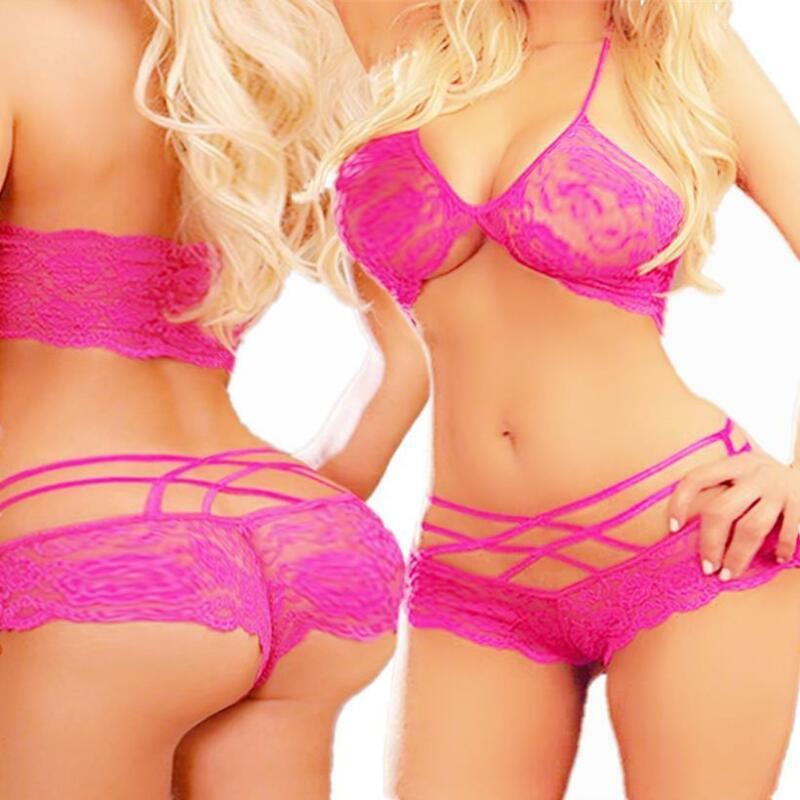 Sexy-Lingerie-Underwear-Set Sleepwear-Panties-Women-Bar-Lace-Babydoll-Nightwear