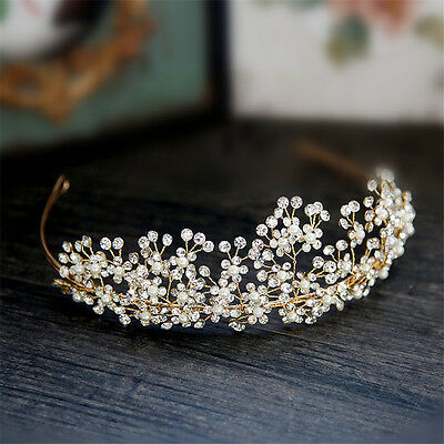 Gold Rhinestone Queen Crown Tiara Wedding Headpiece Hair Accessories Jewelry YYM