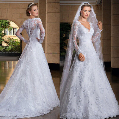 Vintage Wedding Dresses White V Neck Bridal Gowns Ivory Long Sleeve A Line Train