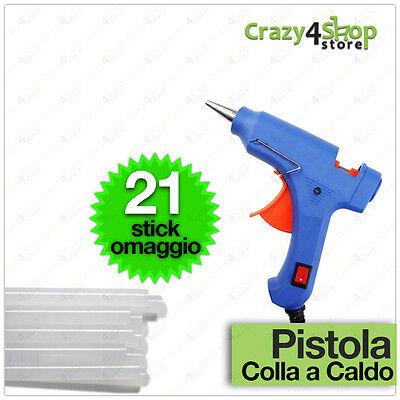 MINI PISTOLA PER COLLA A CALDO CON 21 STICK in SILICONE fai da te bricolage 20W