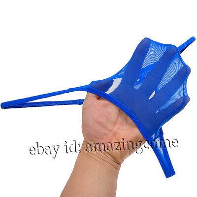 See Through Micro Mesh Thong (Men's Liquid Stretch Micro Thong Underwear See-through Mesh Mini Cut G Strings)