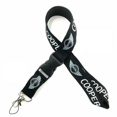 Mini Black Lanyard NEW UK Seller Keyring ID Holder Strap Car Logo COOPER