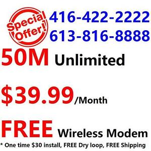 FREE Wireless N VDSL Modem + FREE Dry loop + FREE Shipping , Unlimited 50M internet for $39.99/month, call 416-222-2222