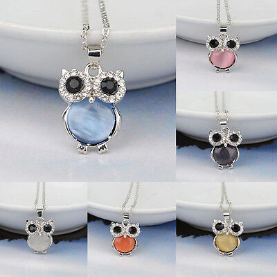 Eyed Owl Pendant - Women Owl Pendant Necklace Cat's Eye Stone Rhinestone Animal Long Chain Jewelry